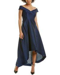 Teri Jon Off-the-shoulder A-line Dress - Blue