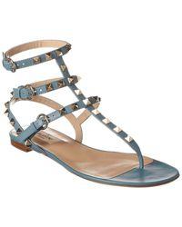 Valentino Rockstud Caged Leather Thong Sandal - Blue