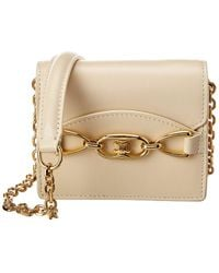 Celine Leather Card Holder On Chain - Natural