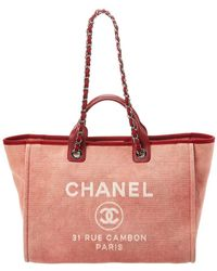 Chanel - Red Denim Canvas Xl Deauville Tote - Lyst
