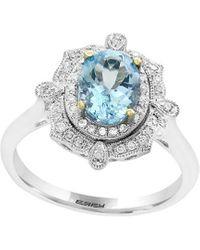 Effy 14k 1.34 Ct. Tw. Diamond & Aquamarine Ring - Metallic