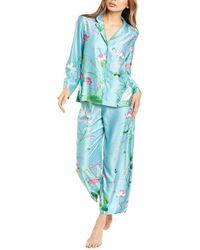 Natori 2pc Lotus Garden Pyjama Pant Set - Blue