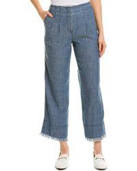 Trina Turk Oakdale Linen-blend Pant - Blue