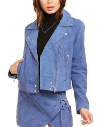 Blank NYC Suede Moto Jacket - Blue