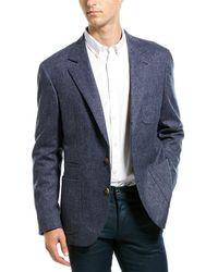 Brunello Cucinelli Notch Lapel Wool Blend Blazer - Blue