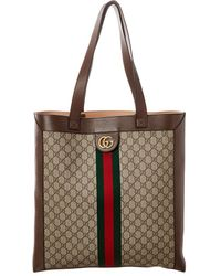Gucci Web Orphidia Large GG Supreme Canvas & Leather Tote - Natural