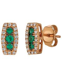 Le Vian ? 14k Rose Gold 0.31 Ct. Tw. Diamond & Emerald Earrings - Metallic