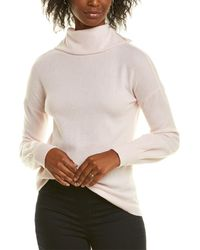 Forte Mock Button Back Cashmere Sweater - Pink