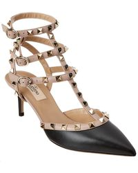 Valentino Rockstud Caged 65 Leather Ankle Strap Pump - Black