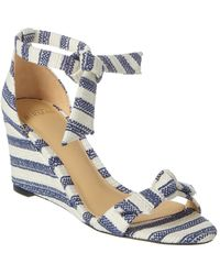 Alexandre Birman Clarita Striped 35 Wedge Sandal - Blue