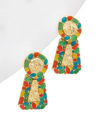 Kenneth Jay Lane 22k Plated Triangle Earrings - Multicolour