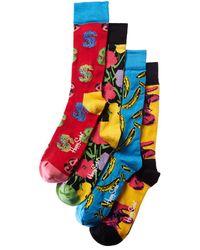 Happy Socks Set Of 4 Andy Warhol Sock Box Set - Yellow