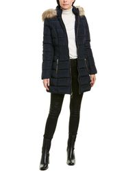 Laundry by Shelli Segal Smocked Puffer Coat - Blue