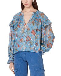 10 Crosby Derek Lam Lilou Ruffle Blouse With Smock - Blue
