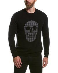 Autumn Cashmere Houndstooth Skull Wool & Cashmere-blend Crewneck Sweater - Black