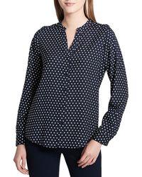 Calvin Klein Polka Dot Button-down Shirt - Blue