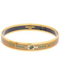 Hermès Plated Printed Enamel Narrow Bangle Bracelet - Metallic