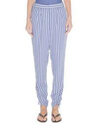 Tibi Stripe Viscose Twill Shirred Pant - Blue