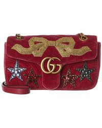 b9d0207e9ec8 Gucci Gg Marmont Mini Embroidered Velvet Chain Shoulder Bag in Blue ...
