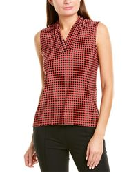Anne Klein Pearly Dot Triple Pleat Top - Red