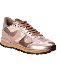 Valentino Rockstud Camouflage Canvas & Leather Sneaker - Metallic