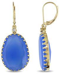 Rina Limor 14k White Gold 27.40 Ct. Tw. Diamond & Blue Chalcedony Halo Earrings