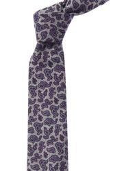 Ike Behar Blue & Grey Paisley Wool Tie - Gray