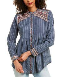 Johnny Was Molly Jo Mandarin Collar Smock Shirt - Blue