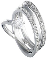 Swarovski Crystal Rhodium Ring - Metallic