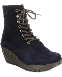 Fly London Ygot Suede Wedge Bootie - Blue