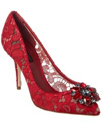 Dolce & Gabbana Bellucci 90 Embellished Taormina Lace Pump - Red