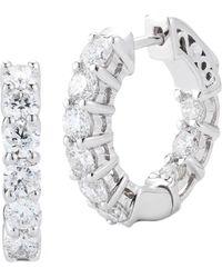 Nephora - 14k White Gold 1.50 Ct. Tw. Diamond Hoops - Lyst