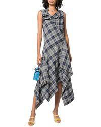 Monse Plaid Cowl-neck Midi Dress - Blue