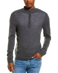 James Perse Mesh-front Cashmere Half-zip Pullover - Grey
