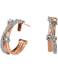 Marco Bicego Goa 18k Two-tone 0.32 Ct. Tw. Diamond Triple Strand Crossover Hoops - Multicolor