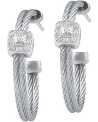 Alor - Classique 18k White Gold Stainless Steel Diamond Hoop Earrings - Lyst