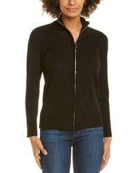 Anne Klein Front Zip Sweater - Black