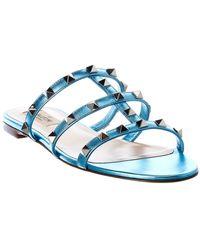 Valentino Valentino Garavani Rockstud Caged Leather Sandal - Blue