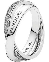 PANDORA Silver Cz Promise Ring - Metallic