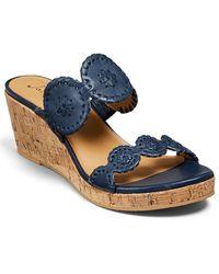 Jack Rogers Lauren Leather Mid Wedge Sandal - Blue