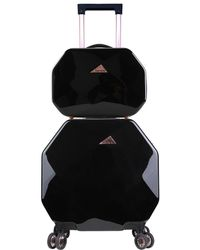 Kensie Gemstone Octagon 2pc Spinner And Cosmetic Case - Black