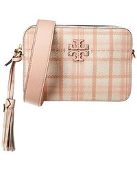 Tory Burch Mcgraw Plaid Leather Camera Bag - Pink