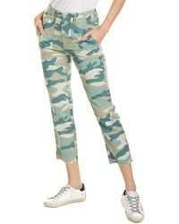 Mother The Shaker Chop Blue Green Camo Linen-blend Crop Jean