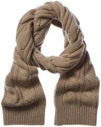 Sofia Cashmere Cable Scarf - Brown