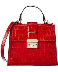 Valentino By Mario Valentino Cleo Croc-embossed Leather Satchel - Red