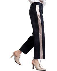 Sies Marjan Bexley Pinstripe Straight Wool-blend Crop - Blue