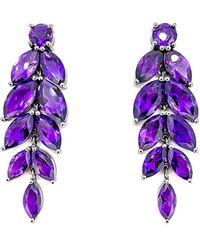 Arthur Marder Fine Jewelry Silver Amethyst Earrings - Purple