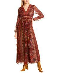 Ranna Gill Pleated Maxi Dress - Orange