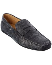 Tod's Tod?s City Gommino Croc-embossed Leather Loafer - Grey