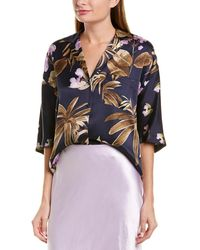 Vince Tropical Garden Silk Pj Shirt - Blue